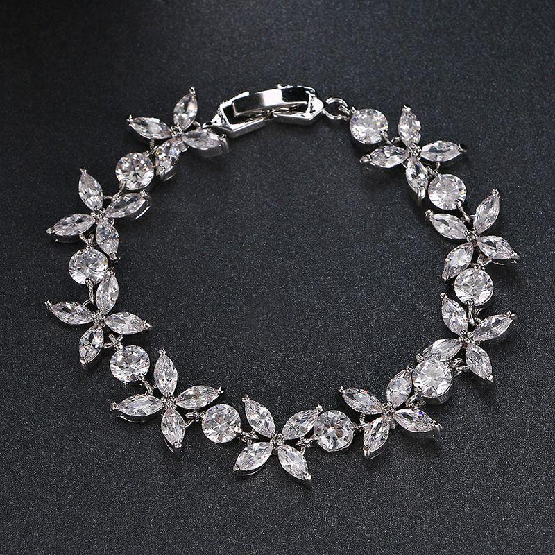 Emmaya De Luxe Rose/Blanc Couleur Or Bracelets Bracelets Nouveau Design Cubique Zircon Bracelets De Mariage pour les Femmes Nouvel An Cadeau