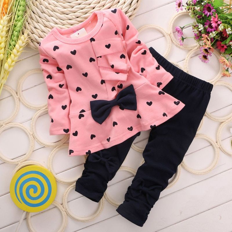 Nouveau printemps et automne filles vêtements ensembles t-shirt + pantalon 2 pièces/ensemble manches complètes vêtements enfants actifs costumes coton enfants porter.