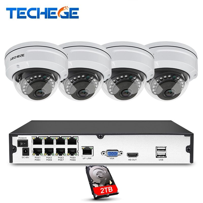 Techege 8CH NVR 48V POE 1080P CCTV System 2MP HD Network Camera Weatherproof Vandalproof Motion Detection Security Camera System