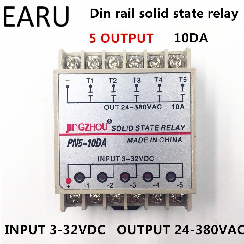 1pc 10DA 5 Channel Din Rail SSR Quintuplicate Five input 3~32VDC Output 24~380VAC Single Phase DC Solid State Relay 10A PLC Hot