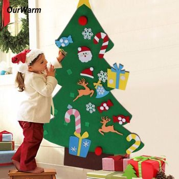 Ourwarm Подарки на Новый год Дети DIY Фетр Рождество дерево Аксессуары рождественские подарки для 2018 Новое поступление на Новый год дверь стене ...