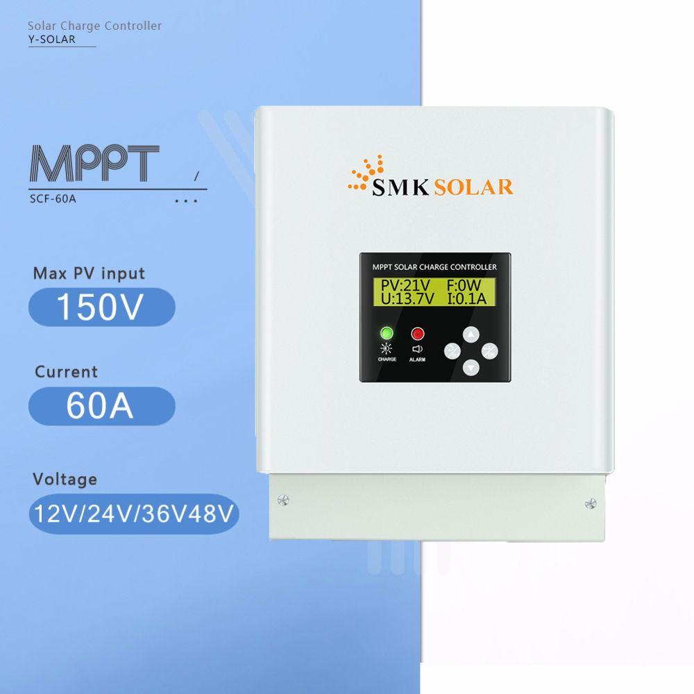 MPPT 60A Solar Charge Controller 12V 24V 36V 48V Solar Battery Charger Controller LCD Display Dual Fan Cooling Solar Regulator