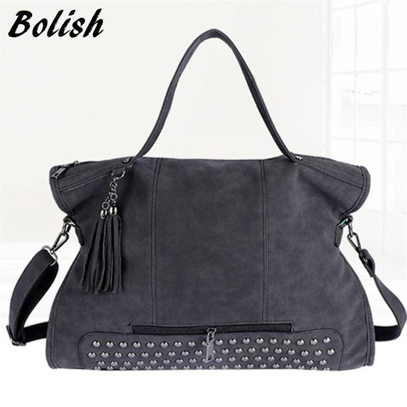 Bolish заклепки Винтаж PU кожаные женские сумки моды кисточкой сумка Для женщин сумка больше Сумки с короткими ручками дорожная сумка