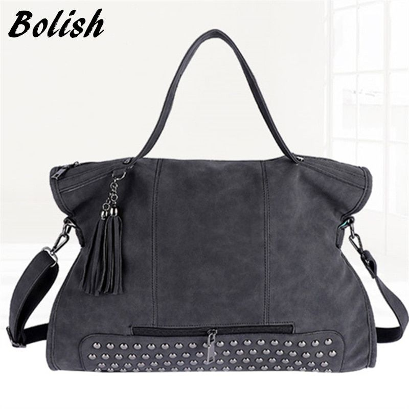 Bolish Rivet Vintage PU Leather Female Handbag Fashion Tassel Messenger Bag Women Shoulder Bag Larger Top-Handle Bags <font><b>Travel</b></font> Bag