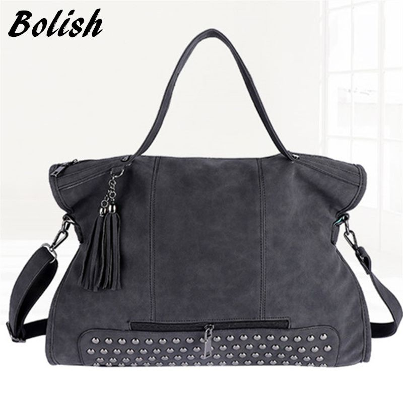 Bolish Rivet Vintage PU Leather Female Handbag Fashion Tassel Messenger Bag Women Shoulder Bag Larger Top-Handle Bags Travel Bag