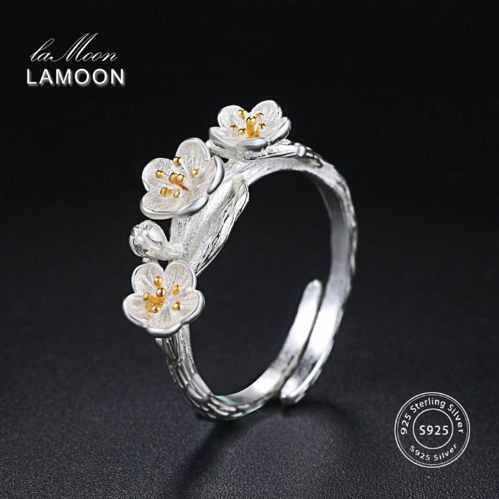 LAMOON Tréfilage 2 Couleurs Prune Fleur S925 Réglable Anneaux 925 En Argent Fin Bijoux pour Femmes Anti Allergie LMRY009