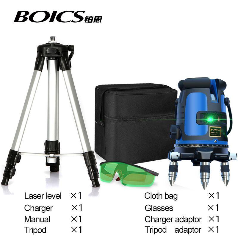 Livraison gratuite en plein air 5 ligne 4V1H vert laser ligne transversale auto nivellement 360 ligne rotative laser ruban à mesurer niveleur de sol nivel