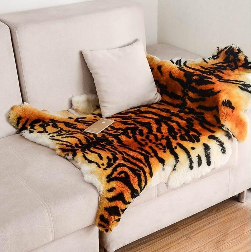 Large Size Fluffy Area Rug Tiger Fur Imitation Carpet Living Room Bedroom Carpet Blanket Faux Fur Soft Blanket Fur Wool Mat