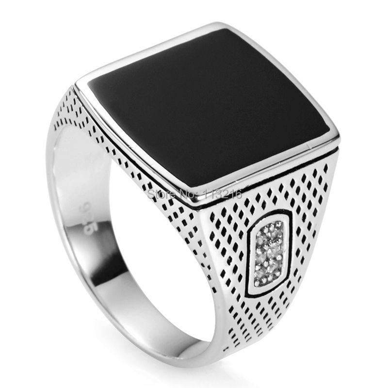 Eulonvan bijoux de fiançailles de mariage 925 bagues en argent sterling émail noir cadeaux de noël S-3783 taille 7 8 9 10 11 12 13