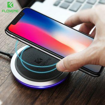 Qi быстро Беспроводной Зарядное устройство, FLOVEME оригинальный кожаный Беспроводной Зарядное устройство s для iPhone X 8 плюс samsung Примечание 8 S8 п...