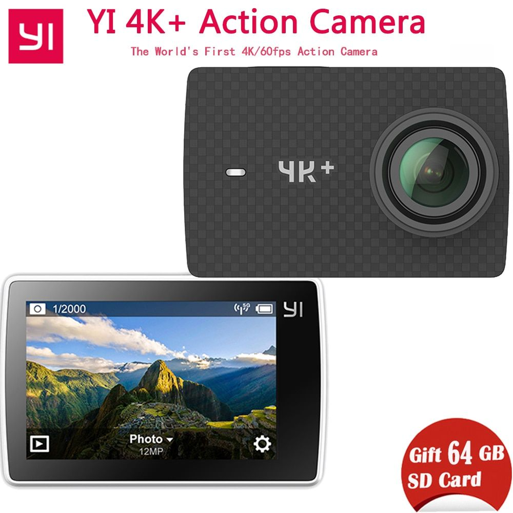 [International Version]Xiaomi YI 4K+(Plus) Action Camera Xiaoyi 4K+Action Cam First 4K/60fps Amba H2 12MP 155 Degree 2.19