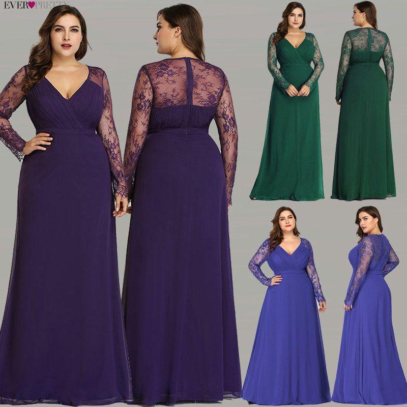 Robes de soirée formelles Ever Pretty EP08692 femmes automne élégant col en v à manches longues dentelle grande taille robes de soirée de bal
