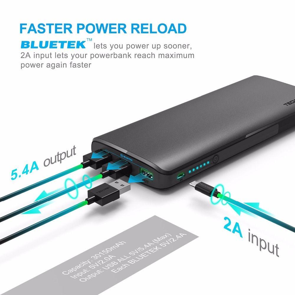 TeckNet 18650 batterie 30150 mAHh 3-Port USB Portable Externe Batterie Energienbank usb quick ladegerät für xiaomi (2A Eingang)