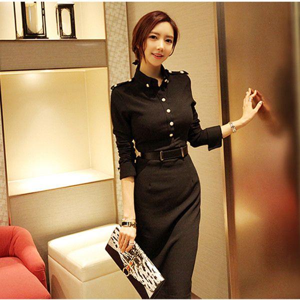 2017 printemps femmes longue robe à manches longues robes solides noir 666