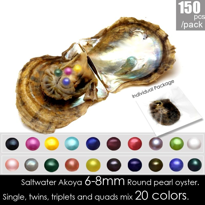 Wholesale individually vacuum packed 150pcs mix 20 colors 6-8mm Round Akoya single/twins/triplets/quads Seawater pearls oysters