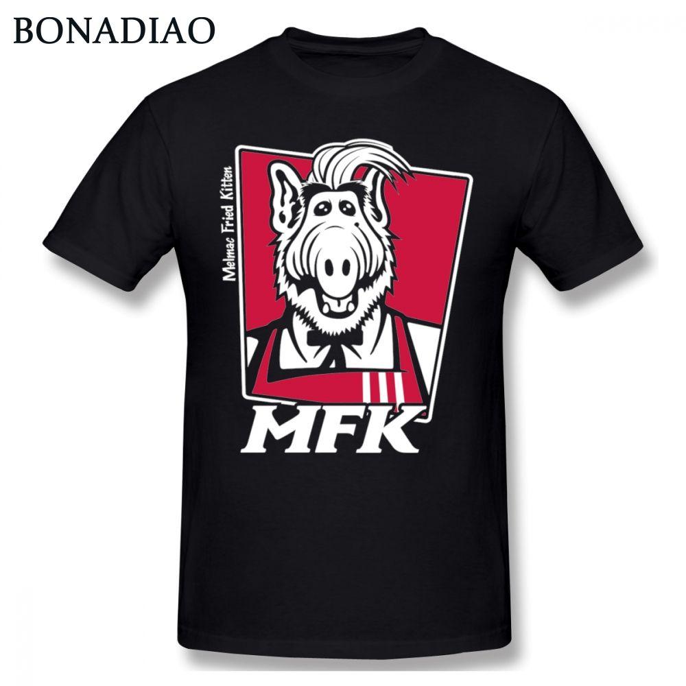 Lustige Melmac Fried Kätzchen Alf T Hemd Harajuku Unisex Cartoon Graphic Print T Shirt 100% Baumwolle Plus Größe T-Shirt