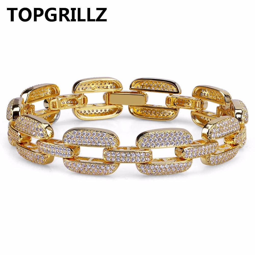 TOPGRILLZ Hip Hop Gold/Silver Color Iced Out Micro Pave CZ <font><b>Stone</b></font> Bracelet Copper Cuban Chain Link 15mm Bracelets 20.5cm Long