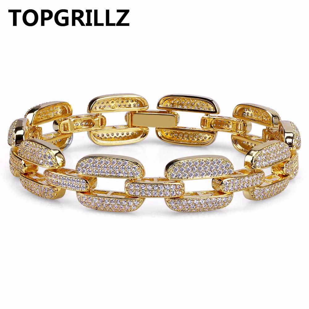 Topgrillz хип-хоп золото/серебро Цвет льдом микро Pave CZ камень браслет Медь КУБИНСКИЙ звено цепи 15 мм браслеты 20.5 см длинные