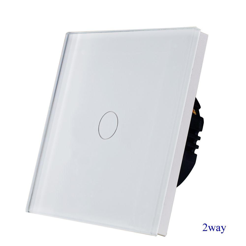 1gang 2way interrupteur mural d'escalier, verre trempé cristal blanc tactile 2way interrupteur de lumière EU/UK standard AC110-250V 1/2/3G offre spéciale