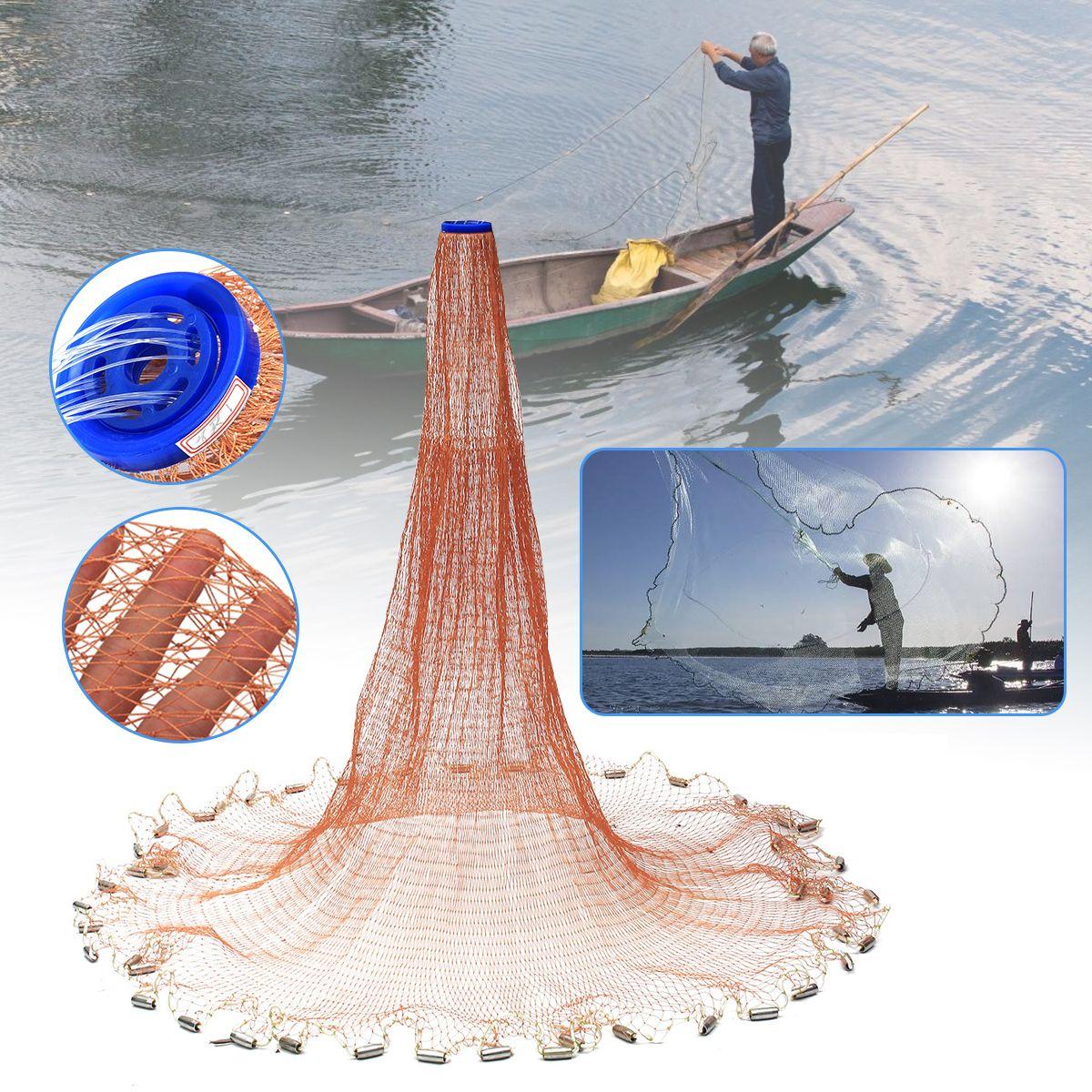 4.8M 8FT Cast Net Saltwater Bait Casting Net Strong Nylon Line with Sinker
