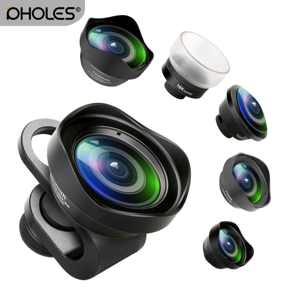 Pholes Wide Angle Fisheye Macro Portrait Phone Lens Zoom Camera Lenses for iPhoneXs Max Xs X 8 Huawei P20Pro Samsung S8 S9 Piexl