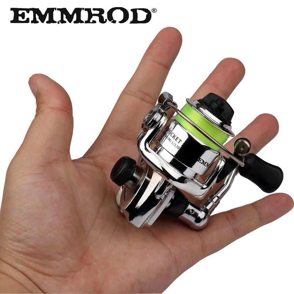 EMMROD HOT Mini100 Pocket Spinning Fishing Reel Alloy Fishing Tackle Small Spinning Reel 4.3:1 Metal wheel pesca Small Reel