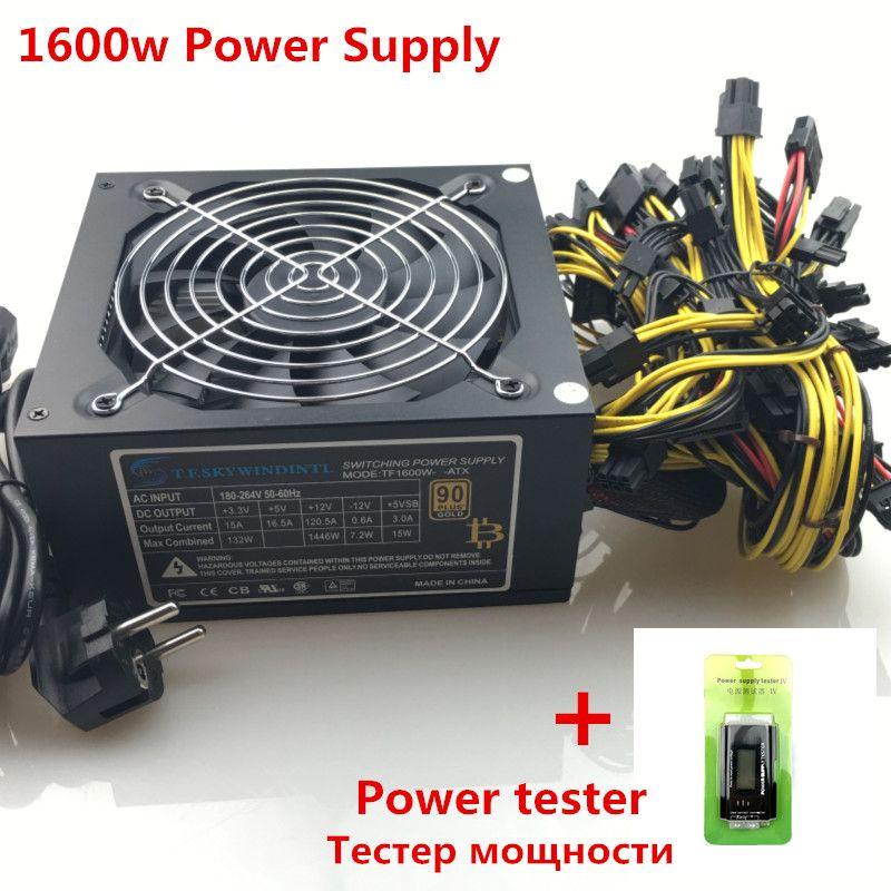 T. f. SKYWINDINTL 1600 watt Netzteil für bergbau gpu 1600 watt ATX Bergbau Netzteil 6 gpu Grafikkarte 14 cm antminer Fan BTC NETZTEIL