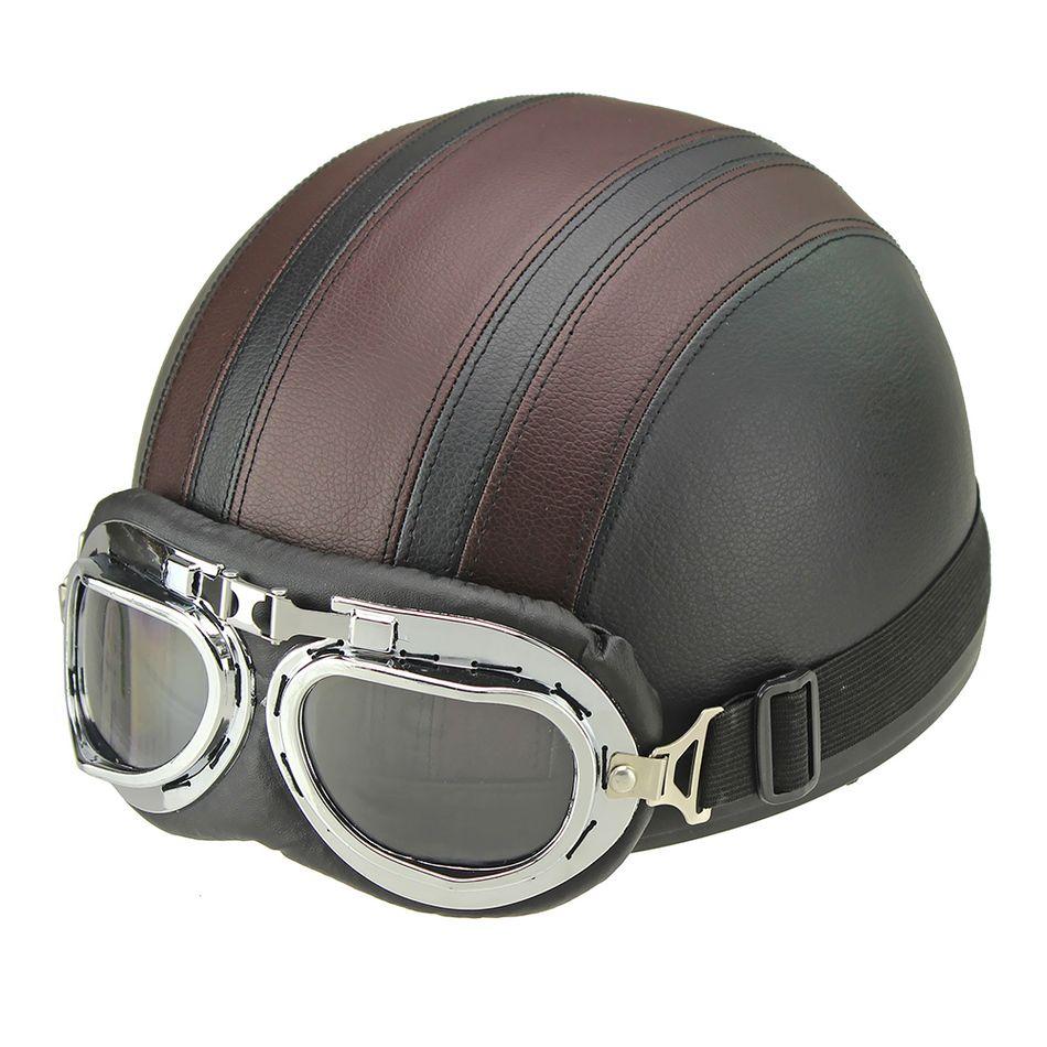 Synthétique En Cuir vintage Moto Moto Vespa Open Face Demi Moteur scooter Casques Visière Lunettes Livraison Gratuite