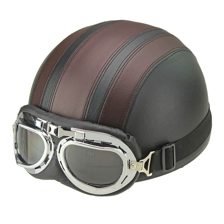 Synthetic Leather vintage Motorcycle Motorbike Vespa Open Face Half Motor scooter Helmets Visor Goggles Free Shipping