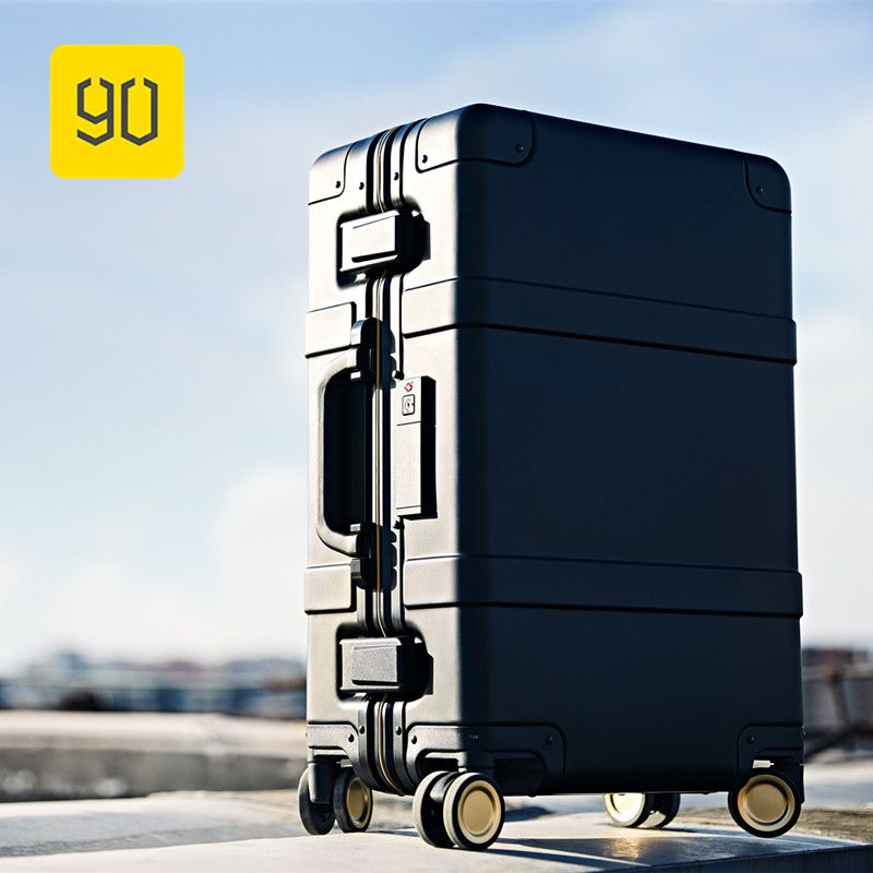 Xiaomi 90FUN Smart Luggage Aluminum Alloy Carry-Ons Rolling Luggage Suitcase Intelligent Fingerprint/TSA Unlock Black 20 Inch