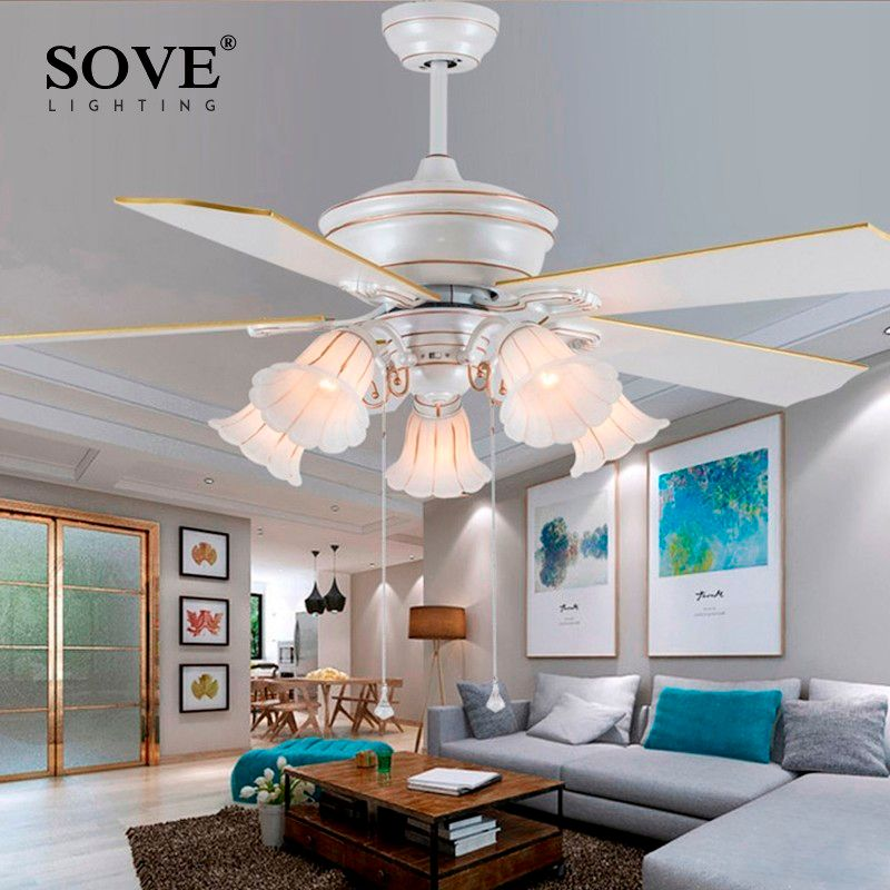 Sove 52 Inch European Modern White Ceiling Fans With Lights Restaurant Living Room Bedroom Ceiling Light Fan 220 Volt Fan Lamp