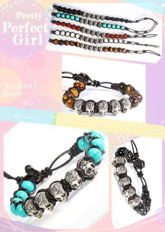 1pc/lot Hot sold Men's Beaded silver skull Semi-Precious natural stone Bracelet with leather weaven and stainless steel clasp