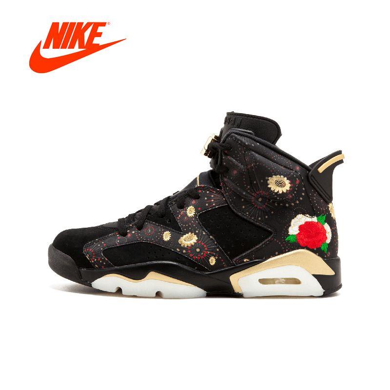 Offizielle Original Nike Erste Schicht Wildleder Air Jordan 6 CNY AJ6 Pfingstrose Stickerei AA2492-021 Mens Basketball Schuhe Turnschuhe