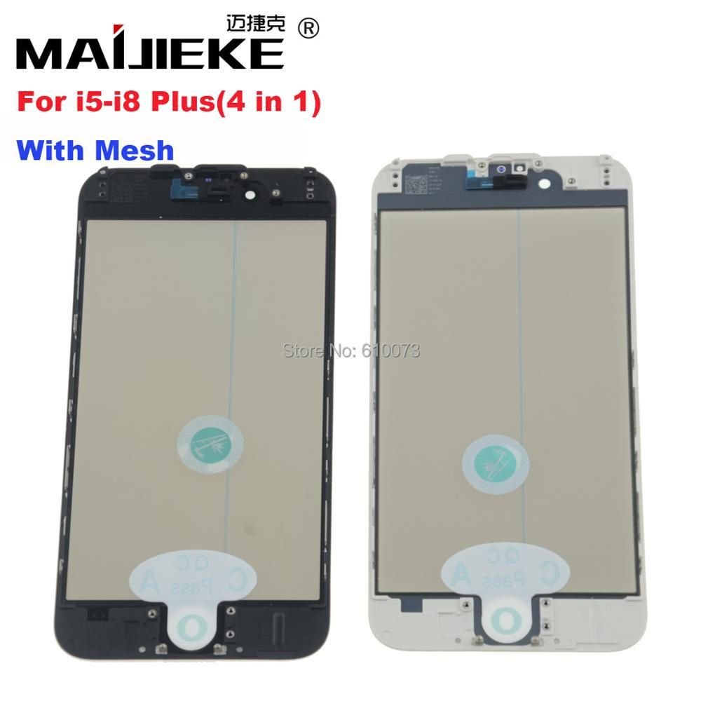 MAIJIEKE 4 in 1 Cold Press Front Screen Outer Glass+Frame OCA+Polarizer For iPhone 8 7 6 6s plus 5 5s Screen Glass Replacement