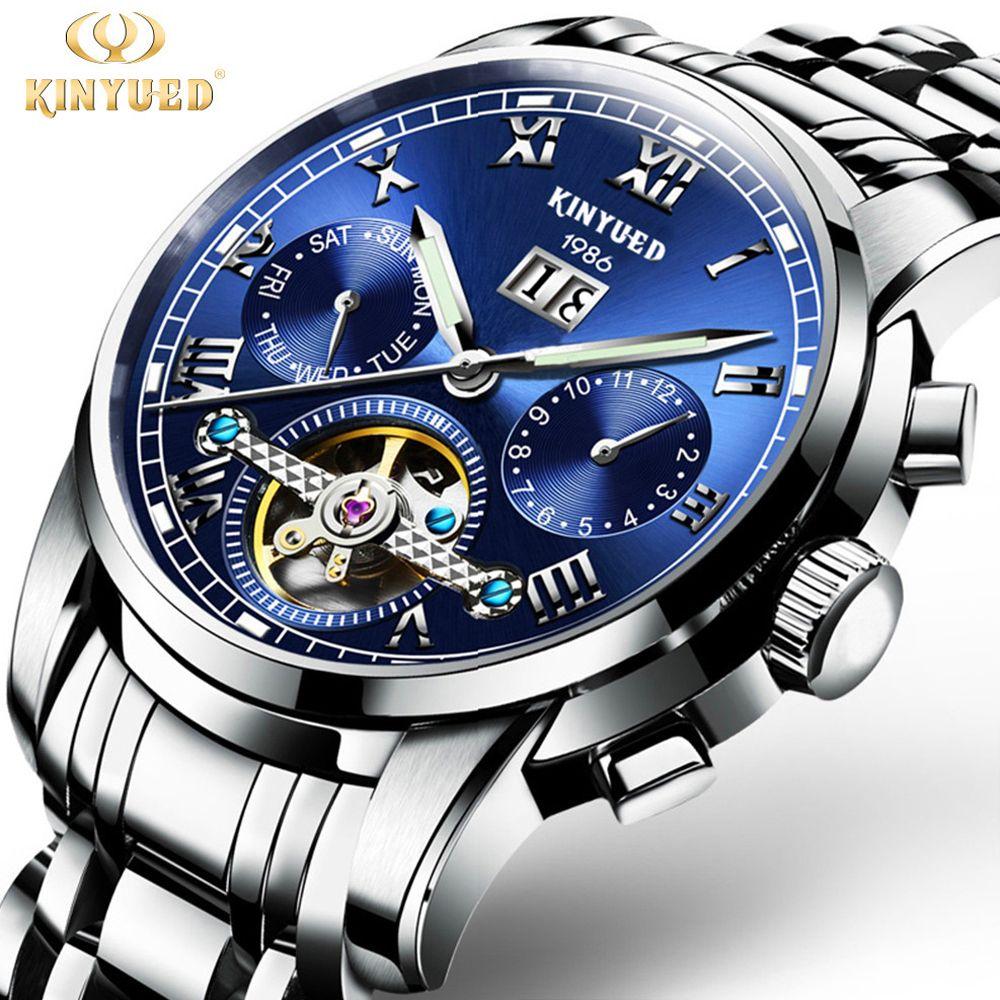 KINYUED Mens Skeleton Watch Top Brand Luxury Fashion Automatic Watches Men Mechanical Steel Watch Luminous Tourbillon Wristwatch
