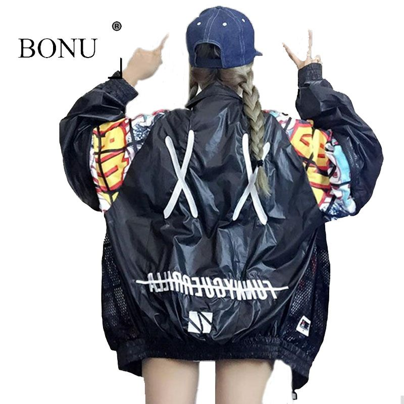 BONU New Hollow Out Back Embroidery Bomber Jacket Unisex Style Loosen Jacket <font><b>Student</b></font> Harajuku Oversize Female Basic Coats