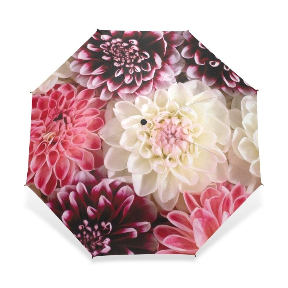 Automatic Folding <font><b>Flower</b></font> Umbrella Rain Women Three Folding Customized Umbrella Female Rain Tools Unique Parasol Umbrella