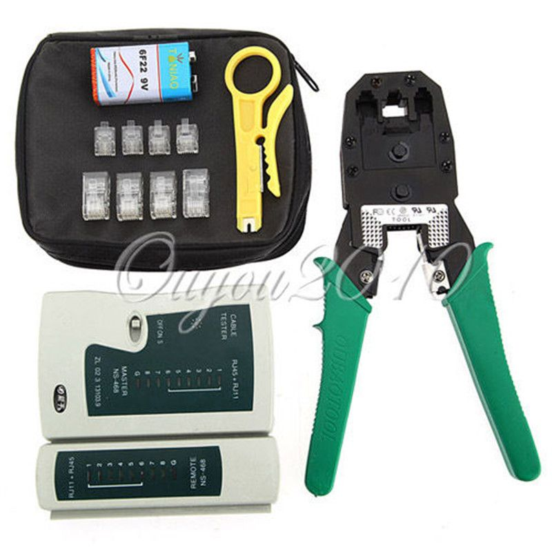 Portable LAN Network Tool Kit Utp Cable Tester AND Plier Crimp Crimper Plug Wire Stripper Heads with RJ45 CAT5 CAT5e Connector