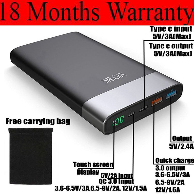 Vinsic Quick Charge 3.0 Power Bank 20000mah QC3.0 Type C 3A for Xiaomi Mi6 Mix Samsung Galaxy S8 Note9 Nexus 5X 6P LG Charger