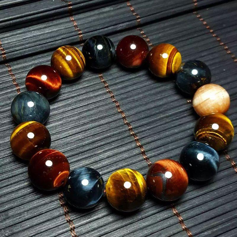 JoursNeige Bracelet œil de tigre naturel 14mm perles bijoux accessoires Multi couleur oeil de tigre pierre hommes femmes Bracelet