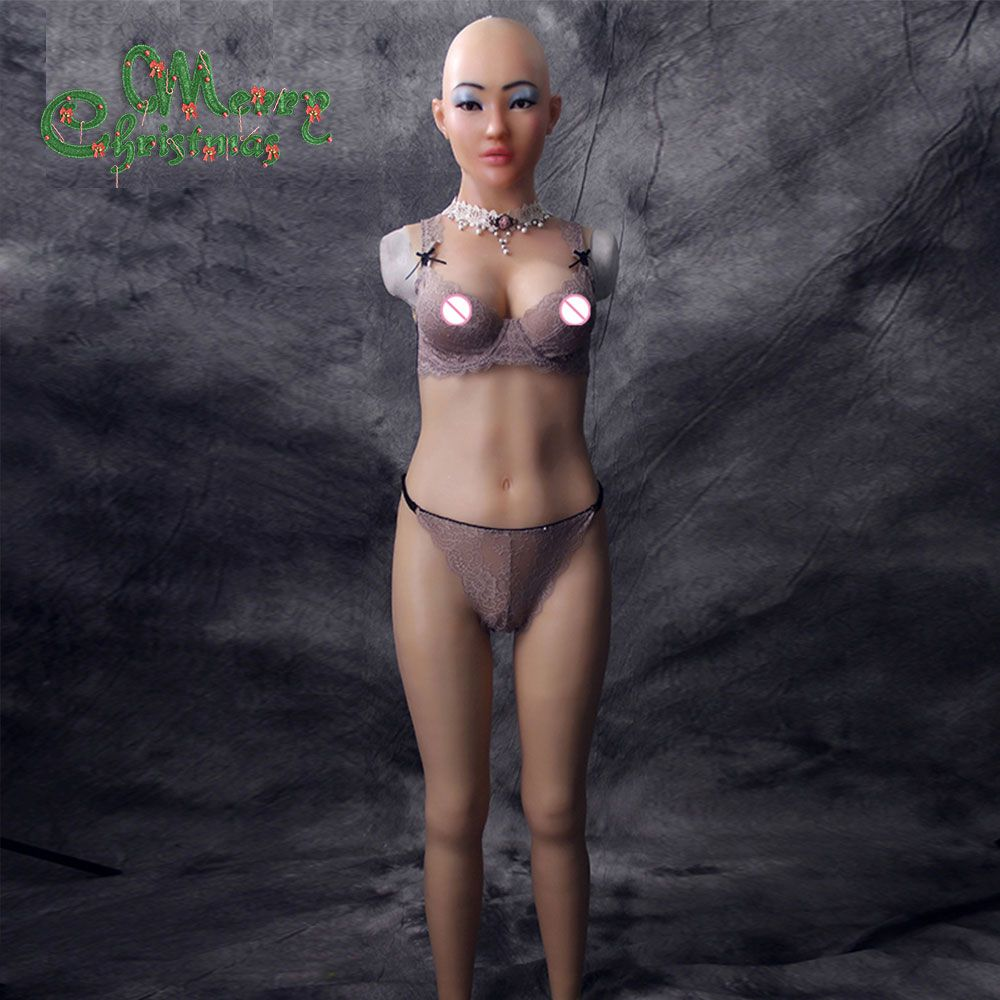 Selina full bodysuit with with goddess face for cosplay Zentai suit fake boobs for crossdresser drag queen breast forms vagina