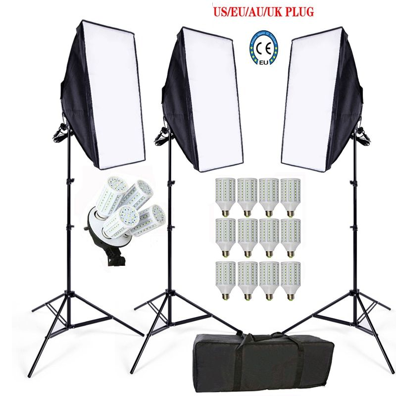 12PS 60W Photography Lighting Kit Continuous Lighting Camera Photo Video 3 light stand 3 lamp holder 3 softbox 1pc carrying bag