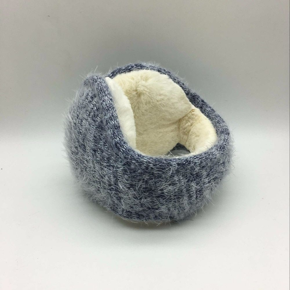 2017 Winter latest knitted rabbit wool with folding earmuffs man and women warm fashion ear warmer