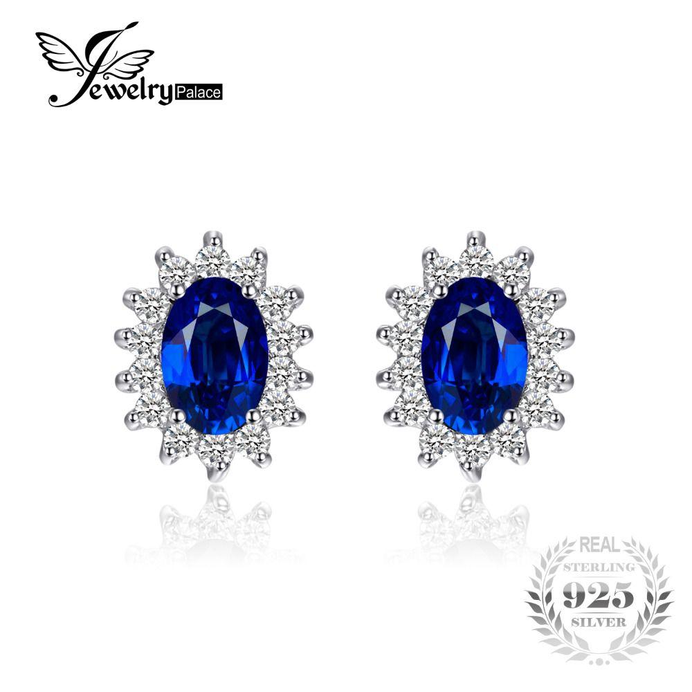 Jewelrypalace 1.5ct Овальный Синий сапфир Серьги Стад стерлингового серебра 925 Мода Принцесса Диана Обручение Свадебные аксессуары