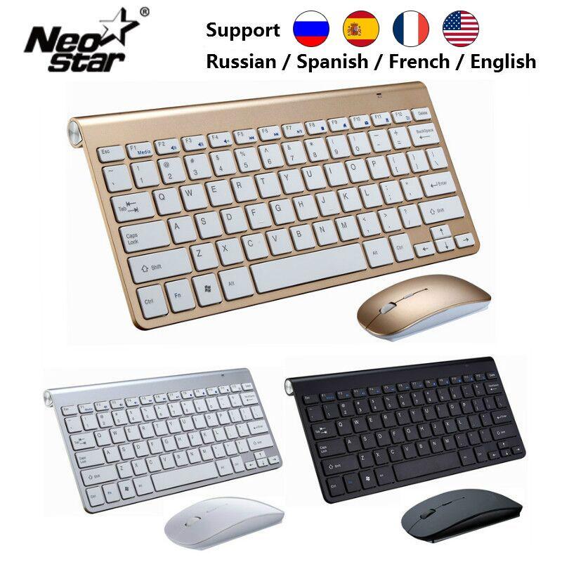 Clavier de souris Portable clavier sans fil Ultra mince pour Mac/Notebook/TV Box/PC 2.4G clavier russe pour IOS Android Win 10