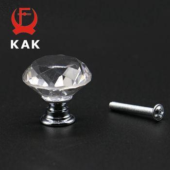 KAK 20-40mm Conception De Forme De Diamant En Cristal En Verre Boutons Armoire Tiroir Tirer la Cuisine porte De L'armoire Porte Poignées Hardware