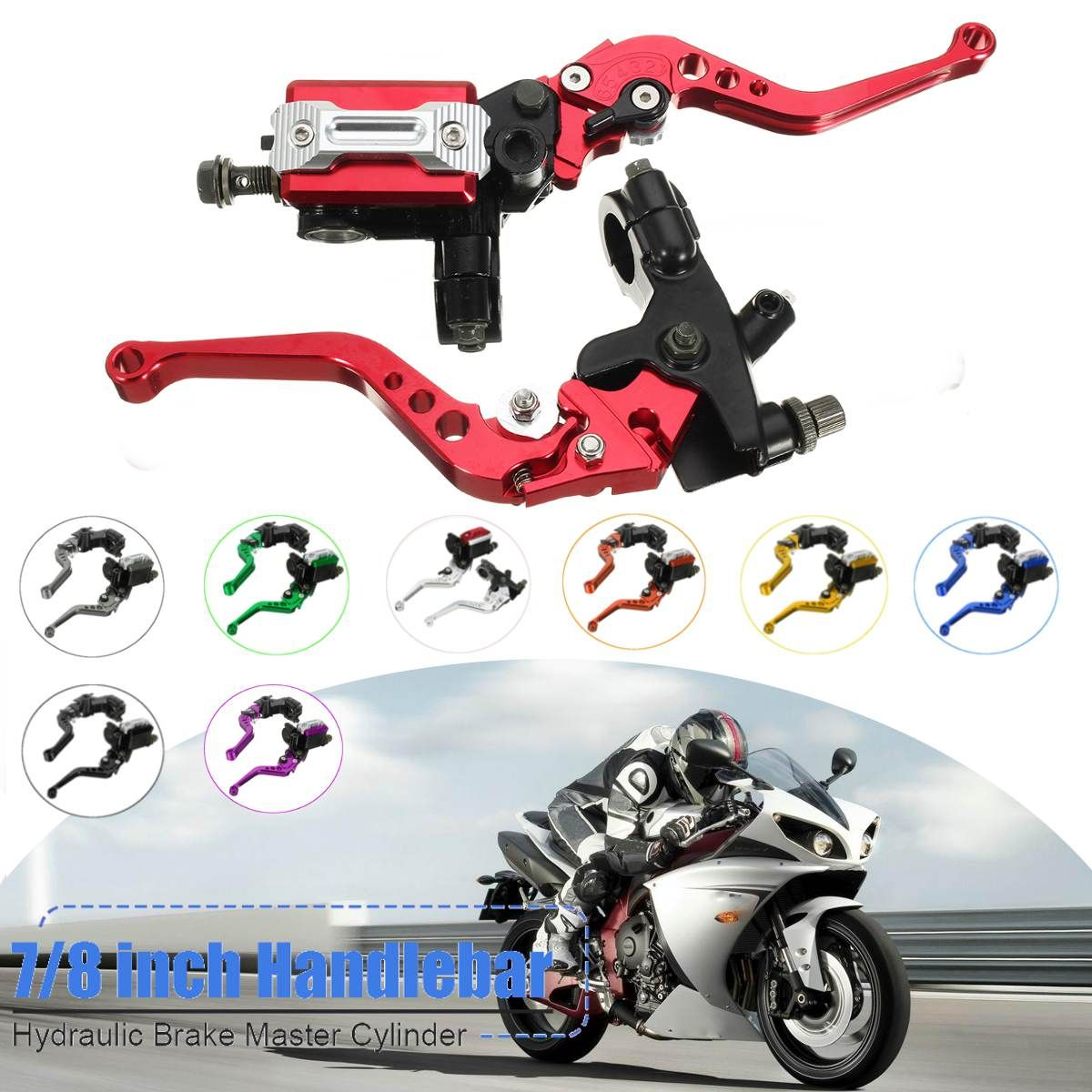 Motorcycle 7/8 CNC Front Brake Hydraulic Clutch Master Cylinder Lever Set Reservoir