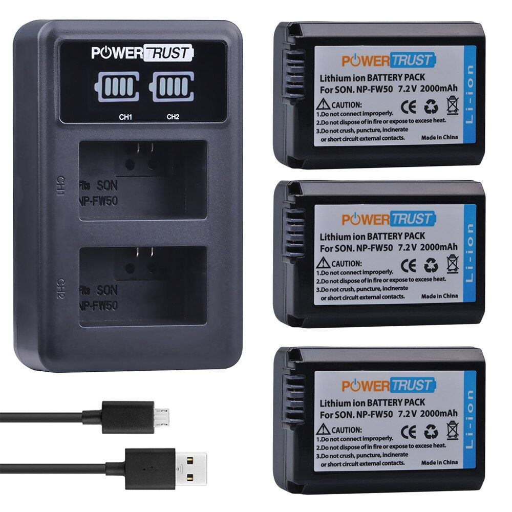 3Pc NP-FW50 NPFW50 Batterie + LED Dual USB Ladegerät für Sony a37 Alpha 7 7R II 7S a7S a7R II a5000 a6400 NEX-7 DSC-RX10 RX10 II III