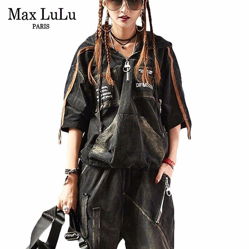 Max LuLu Luxury Korean Brand 2 Pieces Girls Punk Style Streetwear Womens Denim Tracksuit Set Woman Jeans Sweat Suit Plus Size