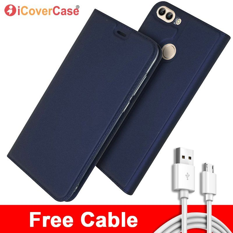Wallet Cover For Huawei P Smart Flip Leather Phone Cases with Free Cable For Huawei P Smart Magnet Book Card Coque Hoesje Etui